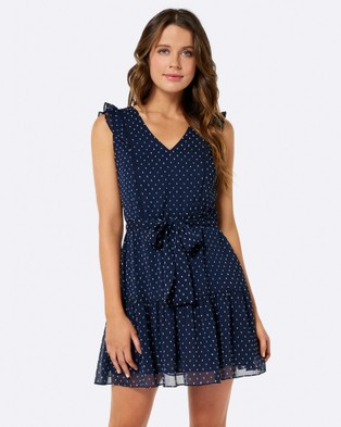 Forever New – Narelle Lace Trim Dress Navy Dobby