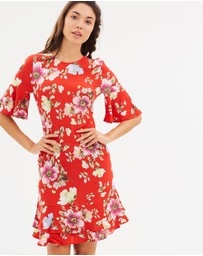 Warehouse - Floral Frill Hem Dress