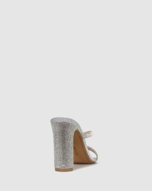 Betts - Skyler Skinny Block Heel Mules Sandals (Silver)