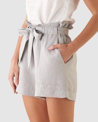 Amelius Sahara Linen Shorts Silver