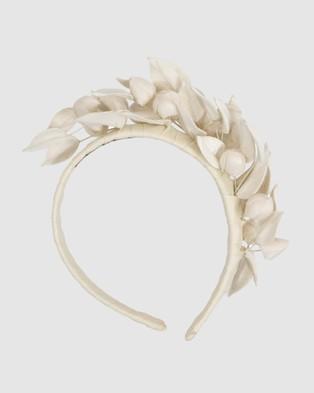 Max Alexander Cream Leather Flowers Headband - Fascinators (Cream)