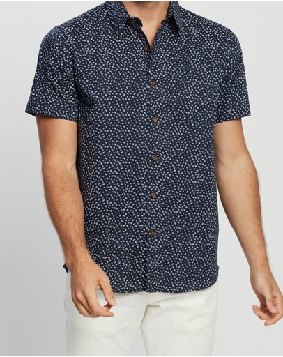 Staple Superior Micro Floral Ss Shirt Navy
