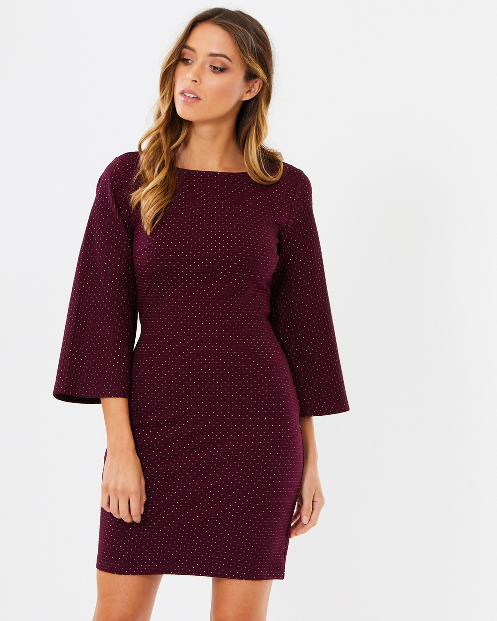 Tussah Gabrielle Bodycon Dress Dresses Plum Base Spot Gabrielle Bodycon Dress