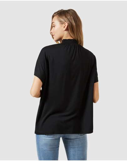 French Connection Shirred High Neck T Shirt Black