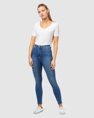 Jeanswest Freeform 360 Contour High Waisted Skinny 7 8 Jeans - High-Waisted (Blue)