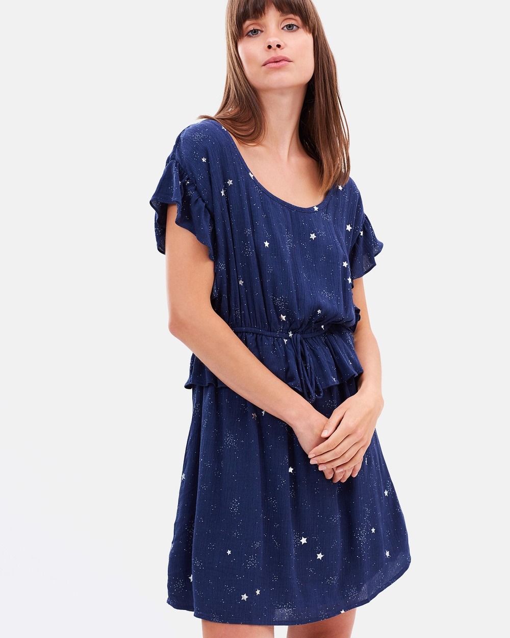 Sass Celestial Stars Ruffle Dress Printed Dresses Celestial Stars Print Celestial Stars Ruffle Dress