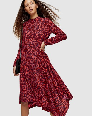 TOPSHOP Zebra Asymmetric Midi Chuck On Dress - Printed Dresses (Red)
