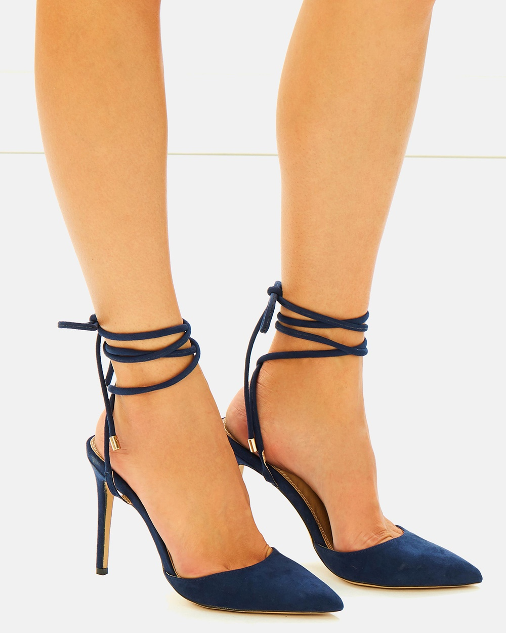 SPURR ICONIC EXCLUSIVE Kiralee Lace Up Heels Heels Navy ICONIC EXCLUSIVE Kiralee Lace Up Heels