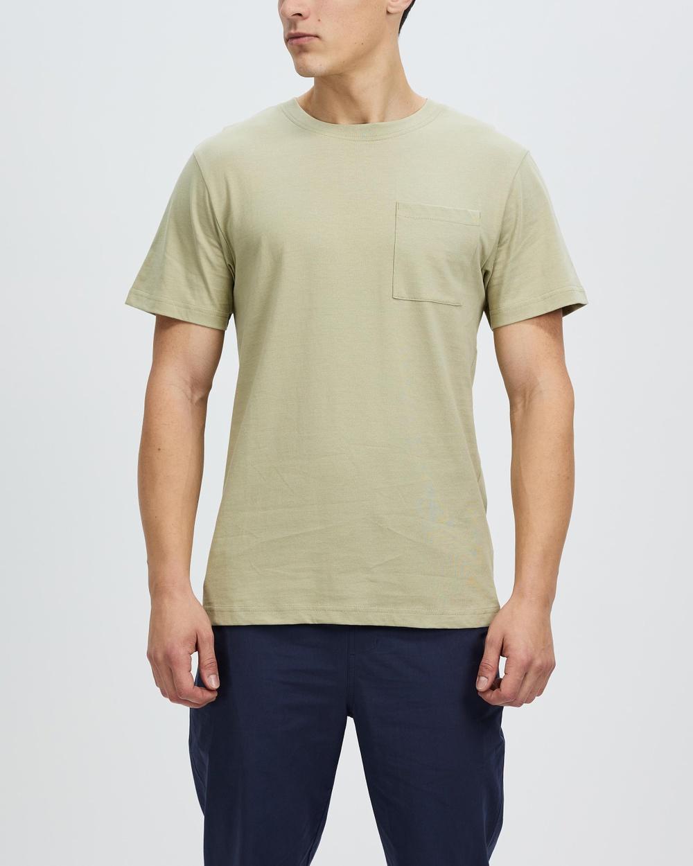 AERE Relaxed Organic Cotton Pocket Tee T-Shirts & Singlets Light Khaki