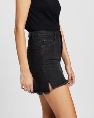 Rusty Tomorrow Button Up Denim Skirt - Denim skirts (Aces Black)