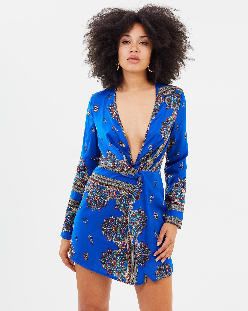 Missguided Silky Plunge Wrap Shift Dress Printed Dresses Blue Silky Plunge Wrap Shift Dress