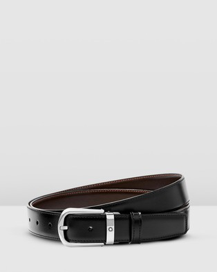 Montblanc Curved Horseshoe Shiny Stainless Steel Pin Buckle Belt - Belts (Black)