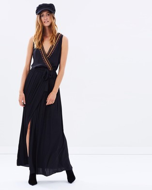 Maison Scotch – Silky Embroidered Maxi Dress – Dresses (Black)