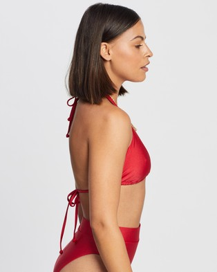 Endless Beach Bound Halter Bikini Top - Bikini Tops (Red)