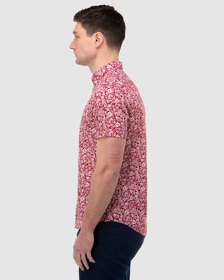 Brooksfield Floral Print Short Sleeve Casual Shirt - Casual shirts (Red)