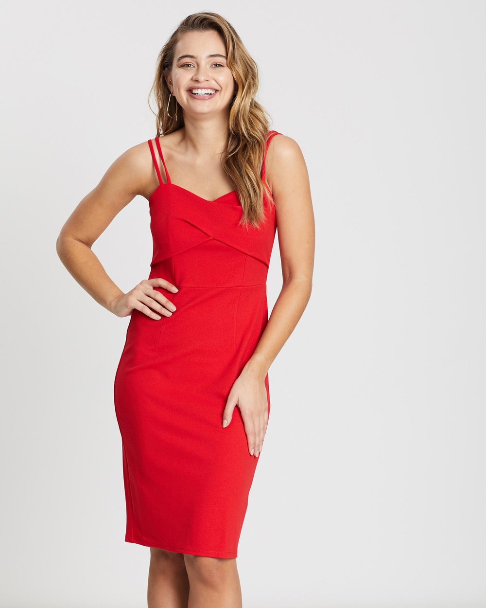 Dorothy Perkins Red Eight Till Late Pleated Bodycon Dress