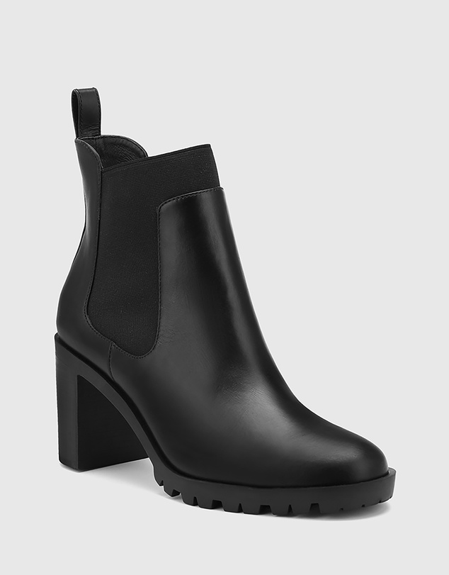 Women Purcell Leather Block Heel Ankle Boots