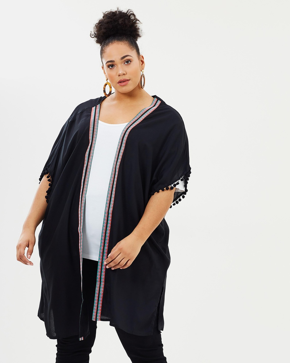 EVANS Tape Pom Cover Up Kimono Swimwear Black Tape Pom Cover-Up Kimono