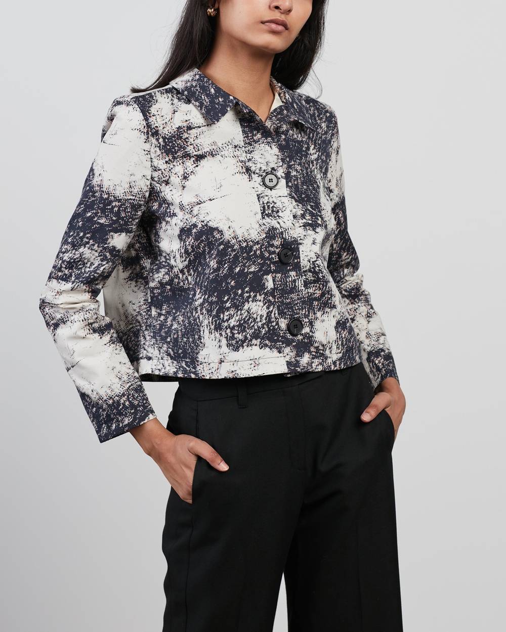Aligne Chyna M Cropped Boxy Jacket Coats & Jackets Marble Print