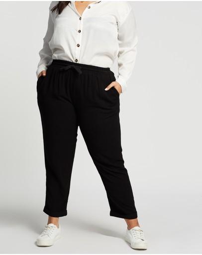 Atmos&here Curvy Joanna Linen Blend Relaxed Pants Black