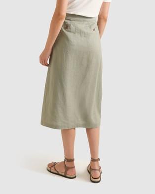 Sportscraft Joan Linen Skirt - Skirts (Khaki )