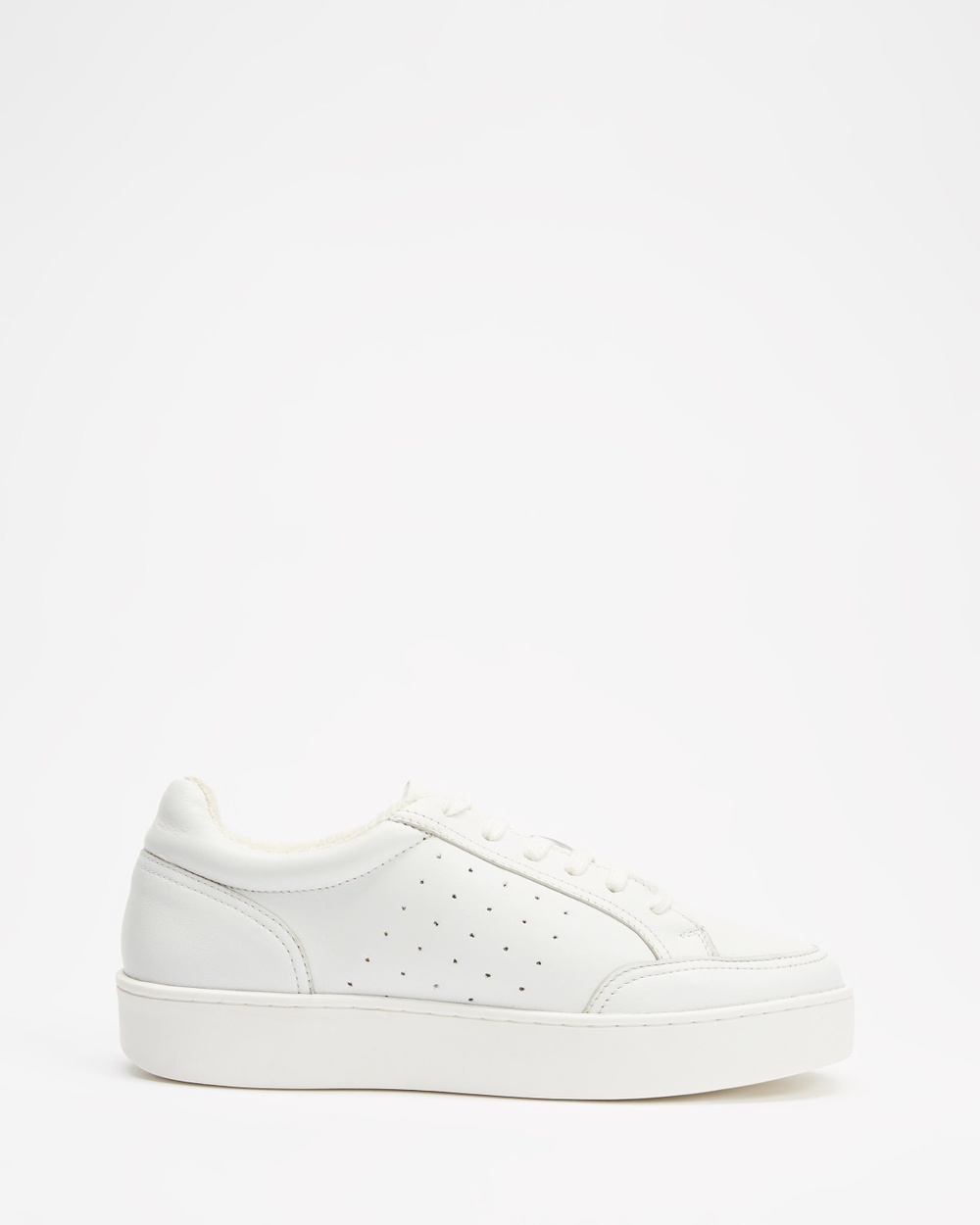 AERE Platform Leather Sneakers White Leather