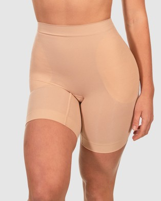 B Free Intimate Apparel Va Va Voom Hip and Booty Mid Rise Shaper Set - Lingerie Accessories (Nude)