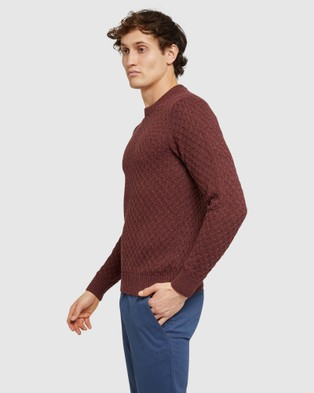 Oxford Flynn Crew Neck Knit - Jumpers & Cardigans (Brown)