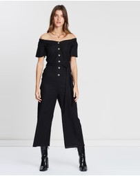 Miss Selfridge - 3/4 Bardot Linen Blend Button-Through Jumpsuit