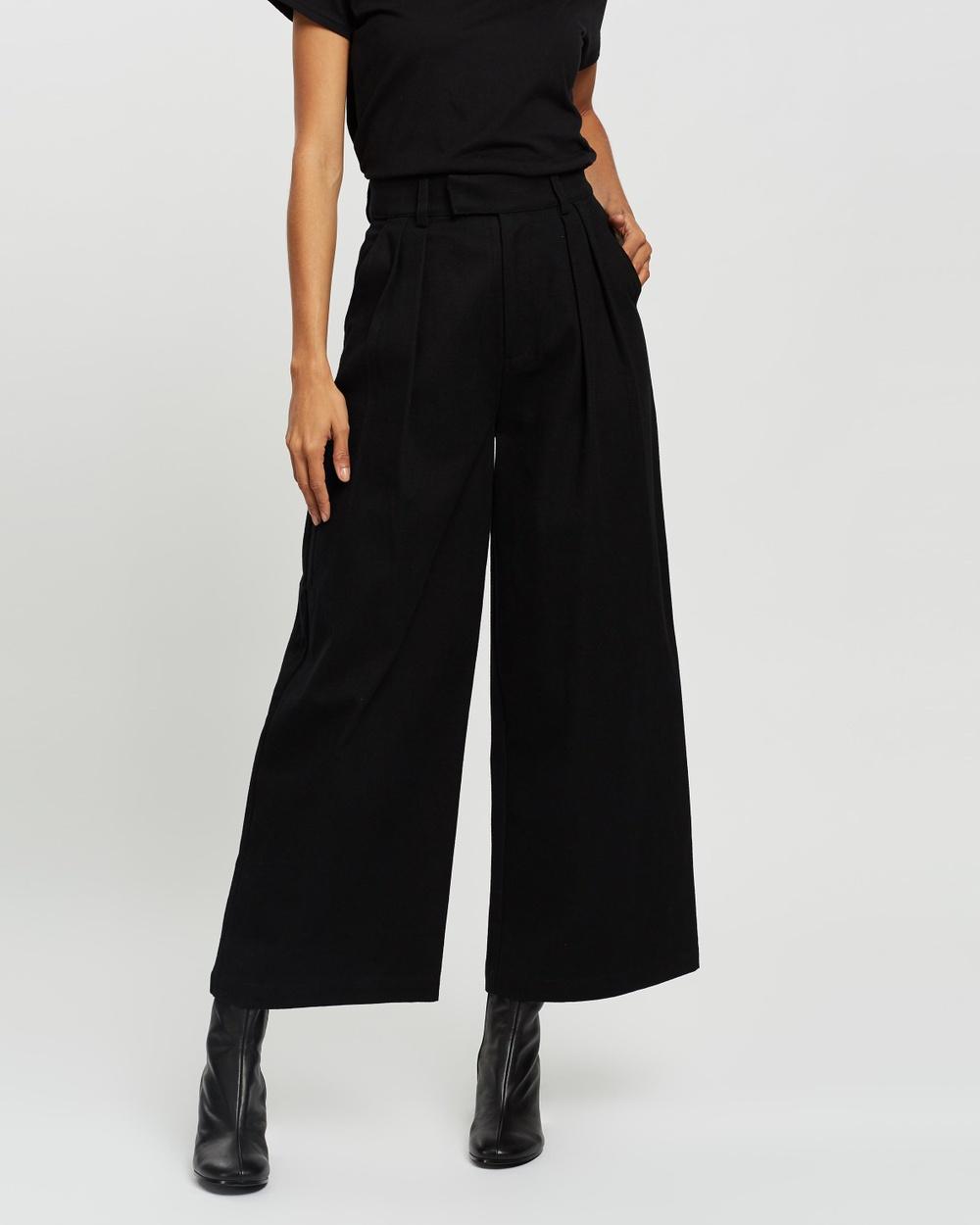 AERE Organic Cotton Wide Leg Pants Black