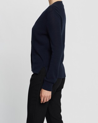 David Lawrence Alice Linen Mix Cardigan - Jumpers & Cardigans (NAVY MARLE)