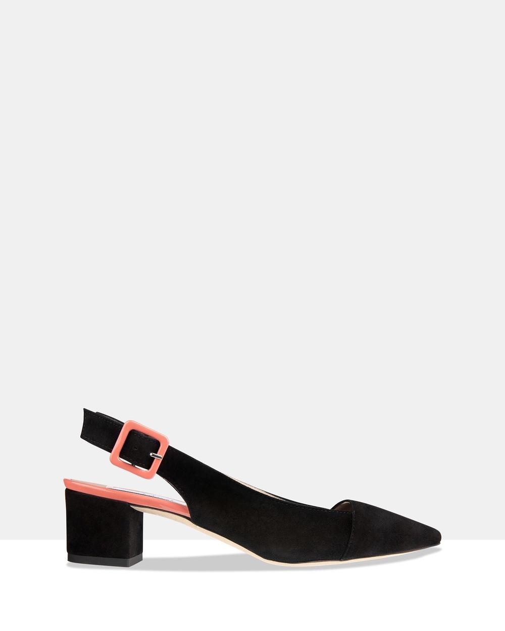Habbot Oliver Sling Back Heels Mid-low heels Black Oliver Sling Back Heels