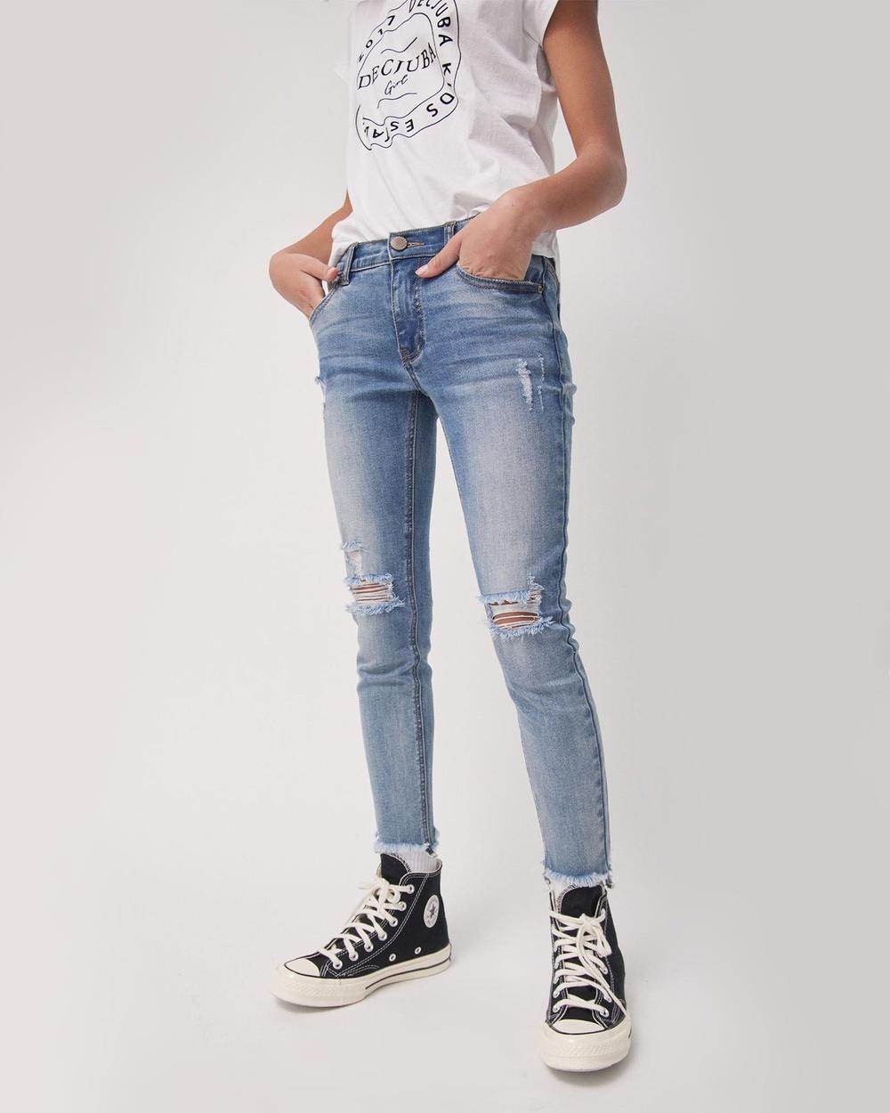 Decjuba Kids Ella Distressed Jeans Teens Slim Vintage Denim Kids-Teens Australia
