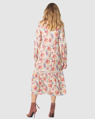 Three of Something Light Meadow Floral Clovelly Midi Dress Printed Dresses Light Floral
