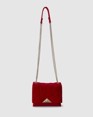 Olga Berg Alexi Quilted Velvet Shoulder Bag - Handbags (Red)