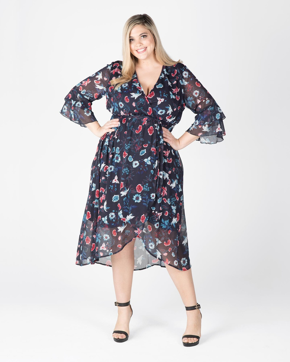 Love Your Wardrobe Meadow Floral Wrap Dress Dresses Navy Floral Meadow Floral Wrap Dress
