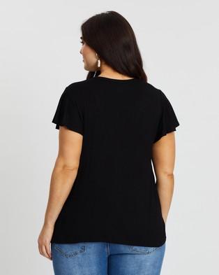 Atmos&Here Curvy Jolie Button Tee - T-Shirts & Singlets (Black)