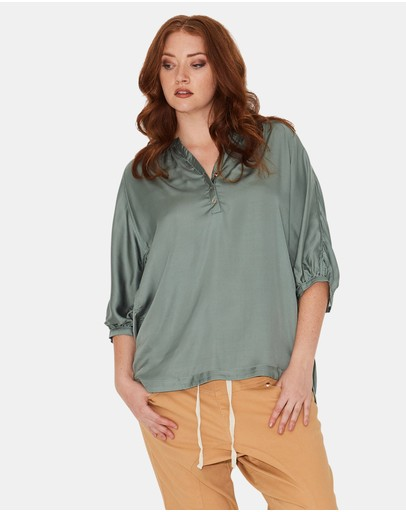 17 Sundays Gather Neck Blouse Fern