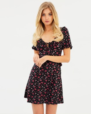 Miss Selfridge – Jersey Tea Dress – Printed Dresses Black Print