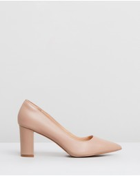 Human Premium - Knox Leather Pointed Toe Block Heels