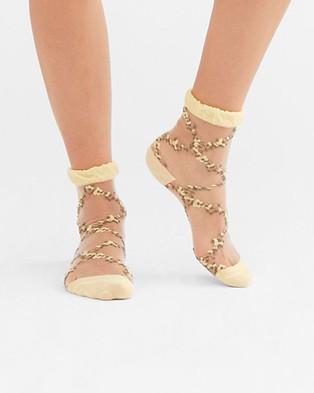 High Heel Jungle Flower Trellis Sock - Socks & Tights (Yellow Sheer)