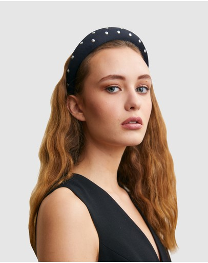 Ford Millinery Monica (studded) Headband Black