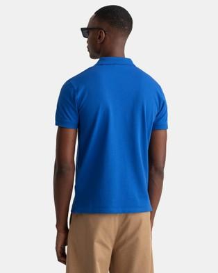 Gant Contrast Collar Pique SS Rugger Polo - Shirts & Polos (Nautical Blue)