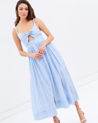 Shona Joy – St Martin Tie Front Midi Dress Blue & White Stripe
