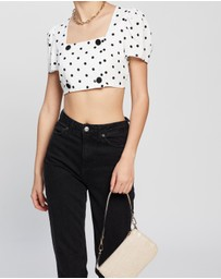 TOPSHOP - Spot Button Crop Top