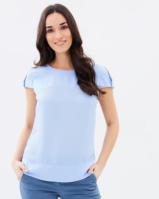 Forcast – Arya Cap Sleeve Blouse – Tops (Light Blue)