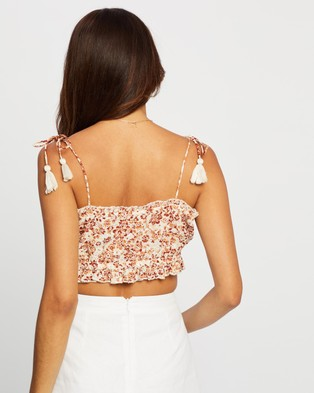Cotton On Broderie Cropped Cami - Cropped tops (Emma Floral Warm Bronze)