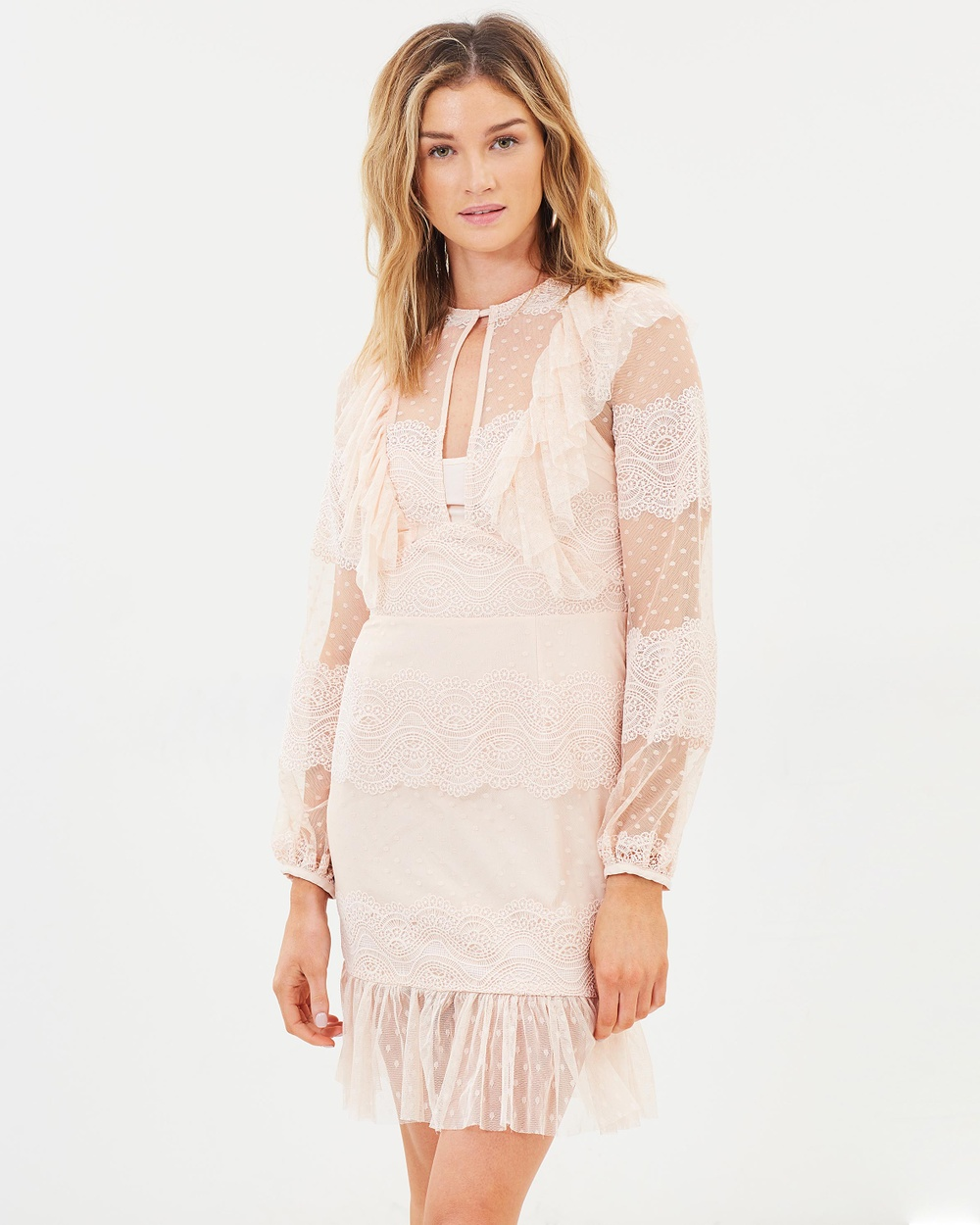 Cooper St Flute Mini Lace Dress Dresses Powder Pink Flute Mini Lace Dress