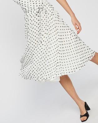 Dorothy Perkins Spot Wrap Pleated Midi Dress - Printed Dresses (Ivory)