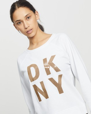 DKNY Terry Foil Stacked Logo Pullover Sweatshirt - Crew Necks (White)
